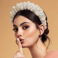 Bandas de la cabeza de invierno brillo scrunchie para mujer acolchado brillante ruchada diadema de moda de la moda cálida corona ancha para novia de boda accesorios para el cabello