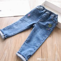 girls flower embroider Trousers 2021 Fshion Kids cotton woven soft pocket Jeans Big children casual single layer Long pants S1646