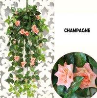 ارتفع اصطناعي شنقا زهرة كرمة الديكور زهرة الزفاف خلفية رومانسية اللبلاب الحائط الأحمر الوردي الشمبانيا HWD6102
