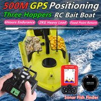 GPS Positioning 500M Sonar Fish Finder One Key Cruise RC Bait Boat Three Hoppers 6Hours Endure Screen Display Waterproof RC Boat X0522