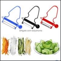Vegetable Tools Kitchen, Dining Bar Home & Garden3Pcs Set Fruit Magic Trio Set Slicer Shredder Jienne Cutter Mti Peel Stainless Steel Peeler