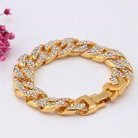 Punk Style Men's Bracelet Gold Silver Color Miami Curb Cuban Link Chain Men Bling Iced Out Hip Hop Jewelry Drop Link,