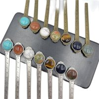 Creative 12cm Ruler Chakra stone Bookmark Retro Bronze Metal Round Healing Crystal Bookmarks Multifunctional Book Page Marker jewelry Gift