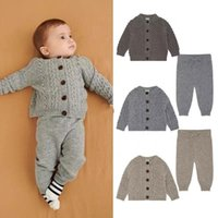 Clothing Sets Children's Sweater Set 2021 Autumn And Winter Ins Denmark FU Boys Girls Baby Knitted Long-sleeved Cardigan Pants Suit