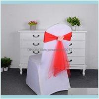 ERS Textiles Home Garden5 Colori Spandex Sheshes con rosa palla artificiale fiore e organza sedia Sash wedding lycra bow tie band decorati