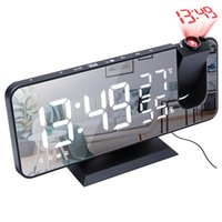 Temperature And Humidity Multifunctional FM Radio Projection Alarm Clock Large LED Display Ceiling Projector Other Clocks & Accessories