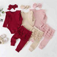 3Pcs Baby Girl Outfit Set Newborn Toddler Girls Clothes Ruffle Flower Print Long Sleeve Romper Bodysuit +Pants+Headband Infant 210427