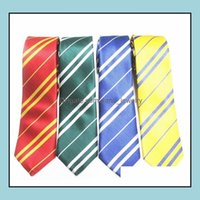 Aessories Striped Neck Tie For Mens School Ties Studentsuits Gryffindo Ravenclaw Hufflepuff Slytherin Necktie Fashion Aessory Halloween Drop