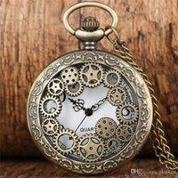 العتيقة النحاس خمر الجوف خارج والعتاد عجلة الكوارتز جيب ووتش steampunk الرجال النساء الساعات ساعة قلادة سلسلة ساعة هدية