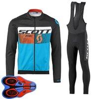 Весна / Autum Scott Team Mens Велоспорт Джерси набор с длинным рукавом Рубашки нагрудников Брюки костюм MTB Велосипедные наряды гоночные велосипедные формы на открытом воздухе Спортивная одежда ROPA CICLIMSO S21042030