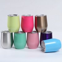 12oz Stainless Steel Tumbler Wine Glasses Water Bottle Double Wall Vacuum Insulated Beer Mug Kitchen Bar With Lid T2I52200