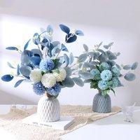 Fleurs décoratives couronnes nordiques soie artificielle blanche mariée mariée anémone bouquet de marquet scrapbook home fête chambre table décoration usine
