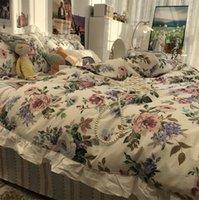 유럽 아메리칸 국가 목가적 인 침구 세트, 로맨틱 코튼 트윈 전체 퀸 홈 섬유 침대 시트 베개 케이스 이불 커버 세트