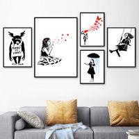 Dipinti Canvas Pittura Banksy Graffiti Ombrello Astratto Girl Girl Orangutan Satira Wall Art Nordic Poster e stampa Immagine Home Decor