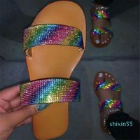 Summer Shoes Woman Sandals For Women 2020 Bling Flat Rhinestone Ladies Beach Sandles Designer Luxury Sandalias Mujer Sandels uu6