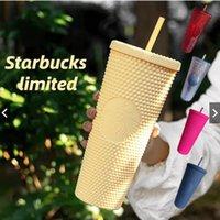 2021 Starbucks cravejado tumblers 710ml caneca de café brilhante diamante brilhante copo de palha estrelado Durian xícaras produto