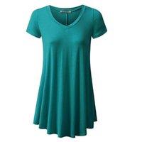 여성 패션 T 셔츠 코튼 탑스 숙녀 캐주얼 솔리드 컬러 여름 플러스 사이즈 짧은 소매 블라우스 해변 드레스 - 5XL Sarongs