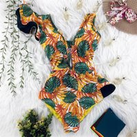 2021 Newest Sexy Ruffle Print Floral One Piece Swimsuit Off The Shoulder Swimwear Women Solid Deep-V Beachwear Bathing Suit Monkini