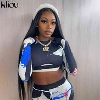 Kliou women skinny patchwork tracksuit 2 piece outfits long sleeve crop top sporty leggings matching set casual fitness clothes 210709