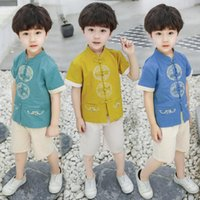 Altre arti e mestieri Summer Style Boys Boys Costume Embroidery Suit Tang Chinese Tang Biancheria per bambini Abbigliamento per bambini SP