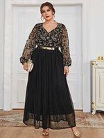 Plus Size Ethnic Dress Abaya For Women V Neck Lone Sleeve Modest Muslim Arabic Clothes Dress CN(Origin) Office Lady G1011