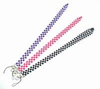 Sangles de téléphone portable Charmes Square Lattice Noir Blanc En gros Lanière à colle Mobile Key Key Badge Porte-badge