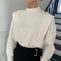 Women's Blouses & Shirts Stand Collar Chic Exquisite Button Design Women Korean Long Sleeve Tops Fall 2021 Fashion Blusas Mujer