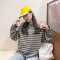 Chic Stripe Womens Hoodies Spring Autumn Fashion Korean Chic Bf Style Oversized Tshirts Casual Loose Bottoming Pullovers Femme