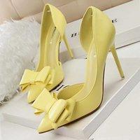 BigTree Shoes Tacones de mujer Tacones elegantes Mujeres Bombas Bow-Knot Tacones altos Zapatos de mujer Partido Stiletto Partido Zapatos de boda nupcial Femenino