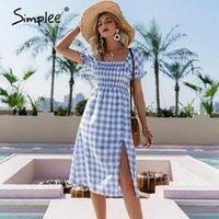 Limee Blue квадратный воротник плед женское платье лето A-Line высокая талия слоеная рукава элегантная средняя длина с короткими рукавами повседневные платья