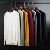 Sweaters Knit 2021 Autumn and Winter Pure Cotton Sweater Men's T-shirt V-neck Backing Color Korean Casual Multicolor Pullover Top