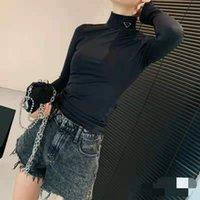النساء البلوزات قمصان عالية الأكمام طويلة الأكمام البلوز لسيدة ضئيلة نمط مع البرازر الرقبة اليوغا قميص رقيقة المواد المحملات قمم