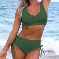 One-Piece Suits Fashion Bikini Set High Waist V-neck Solid Color Two Piece Women Unpadded Bra Panties Swimsuit Bathing Suit For Swimming