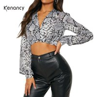 Kenancy Women Casual Blouses Snake Skin Print V Neck Puff Sleeves Long Crop Tops Autumn Fashion Female Blusas Women's & Shirts