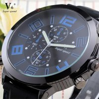Homens relógios de esporte marca v6 militar banda militar exército exército relógio de pulso azul grande homem disque homem quartzo relógio relógio de pulso