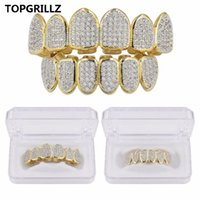 Europe and America Hip Hop Iced Out CZ Gold Teeth Grillz Caps Top Bottom Diamond Teeth Grillzs Set Men Women Grills