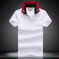 Printemps Été Italie T Camiseta T-shirt Designer Polos High Street Broderie Couleuvres Rayées Peu d'Impression Abeille Vêtements Verter Hommes Polo