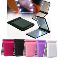 6 ألوان الجودة الساخنة جديد سيدة led ماكياج مرآة التجميل 8 الصمام مرآة للطي المحمولة السفر مدمجة جيب مضغوط مصابيح أضواء مرآة
