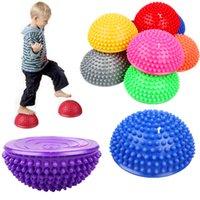 16cm Yoga Ball PVC Inflatable Massage Point Half Fit Balance Trainer Stabilizer GYM Pilates Fitness Balancing Ball