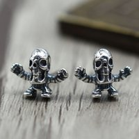 S925 sterling silver long earrings personality retro simple classic skull modeling punk fashion style to send a gift for lovers