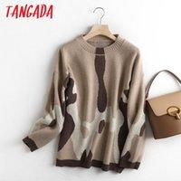 Pulls pour femmes Tangada Femmes 2021 Mode Elegant Office Lady Pull tricoté Jumper O Cou Femme Pulls surdimensionnés Chic Tops BC105