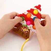 Sensory Fidget Pop Push Bubble Bubble Poppers Popits Poo: su anillo de llaves Navidad Navidad Árbol de Navidad Squeeze Toy Toy Alivio Bola Llavero Dedo Puzzle G69GI3E