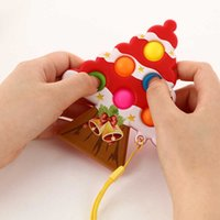 Sensosory Fidget Pop Push Bubble Poppers Toys Навыки Poo - его ключевое кольцо Рождественское Рождество Рождественское дерево формы сжимания игрушки Игрушка Средства Средства Средства Ball Keychain Public G69GI3E