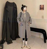 Women's Wool & Blends Furry Grey Collar Long Woolen Coat For 2021 Winter And Jacket Women Elegant Korean Coats