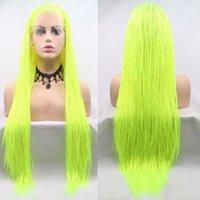 Peruki syntetyczne Neon Żółty Green 26 cali Micro Box Braid Peruka z odpornym na ciepło Mermaid Wymienny oplatanie Koronki