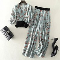 Women's Two Piece Pants Suit Plus Size Summer Style Version Of Short Lantern Sleeve Shirt Floral Wide Leg Two-piece