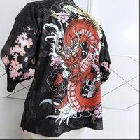 Nicemix camisa feminina dragão padrão auspicioso nuvens kimono jaquetas japonês cardigan casacos retro roupas tradicionais routewear