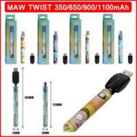 MAW TWIST VAPE PEN Battery Regolabile Preheat VV VV Tensione variabile E-sigarette Batterie 350 mAh 650mAh 900mAh 1100mAh 510 Thread Caricabatterie USB Kit
