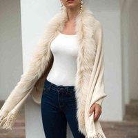 Cardigan Camisola de Malha Feminina 2019 Casual Streetwear COM FRANJAS MANTO XALE GOLA PELE CASACO CARDIGAN SENHORAS