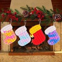 Decompression Toy Christmas Hat Socks Old Man Cartoon Purse Coin Bag Mini Key Headphone Bags DHL Shipping